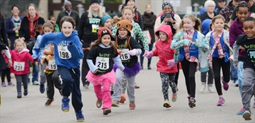Competitors in the children's one-kilometre event get out to a fast start at the 20th annual Wellwood Walk/Run/Wheel for Colorectal Cancer Awareness at McMaster University on Sunday.