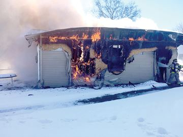 Garage destroyed in Blackstock fire