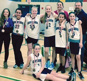 Members of the Goulbourn Basketball Association's CK #shots Bantam Girls basketball team are, at the front, Regan Scarf