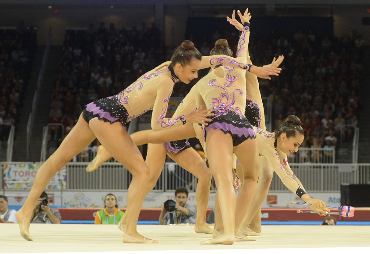 Team Canada competes in the rhythmic gymnastics clubs/hoops competition