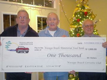 Wasaga Corvette Club gives $1,000 to food bank