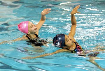 he Mississauga synchronized Swimming Association's training session at Hurn Park.