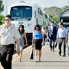 Passengers exit a GO Train