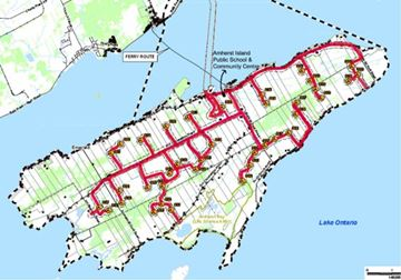 A map of the proposed wind turbine project on Amherst Island.