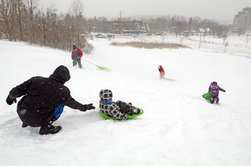 The kids are allright, having fun at the Richmond Hill Library hill in the wintry March break weather.