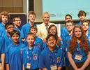 Jeopardy host Trebek and students