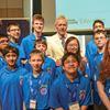 Jeopardy host Trebek and students