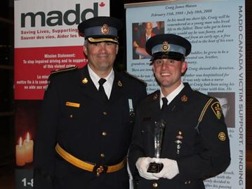 Inspector Tim Tatchell and  Provincial Constable Marc Gravelle at MADD Canada awards night.