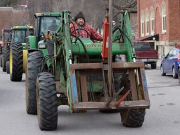 PORT HOPE -- Local farmers, opposed to a proposed tax hike in Ward 2, took their fight to the streets Wednesday with a noon-hour tractor blockade of the Town Hall. More than 30 tractors took part in the peaceful parade, which also drew attention to their opposition of an incinerator project. 12/11/2013