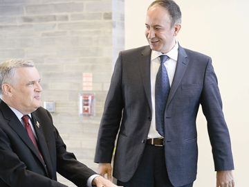 Vaughan Mayor Maurizio Becilacqua greets Lt. Gov. David Onley at city hall.