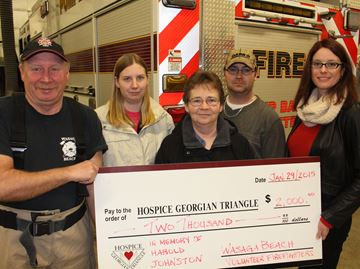 Volunteer firefighters donate to hospice