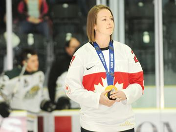 COBOURG -- Sochi Olympic gold medalist Tara Watchorn, of the Canadian Olympic women's hockey team, attended the Cobourg Cougars game at the Cobourg Community Centre. March 3, 2014.