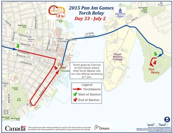 Pan Am torch relay route for Kingston