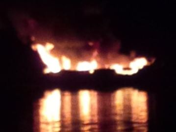 Collingwood-area man fortunate after boat bursts into flames near Christian Island