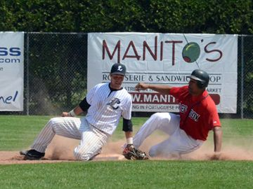 London Majors Chris Stewart catches a throw to put out a Brantford Red Sox trying to steal second base on Sunday (May 19) at Labatt Park.