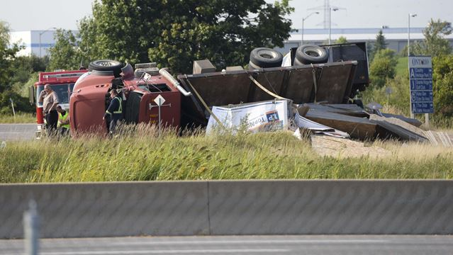 Truck rollover on Hwy. 401 on-ramp