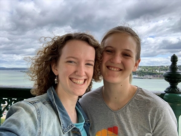 Emma Holmes of Ottawa, left, is seen here with her partner, Larissa Kroell, who is in her native Austria. Holmes has started an online petition urging Ottawa to declare reuniting families essential travel.