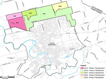 This map shows the Brant-Brantford boundary adjustment.