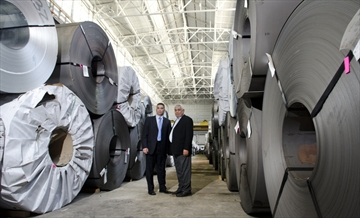 Empire Steel president Sherif Khalifa, left, and his father Awada have high hopes for the former Siemens plant.