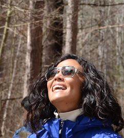 Here, teacher Kristen Relph looks in the best direction to see trees....up!