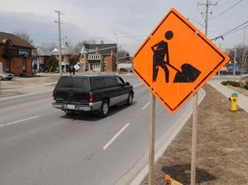 Road construction in Barrie