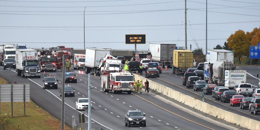 Traffic on Hwy 401 through Whitby snarled due to crash