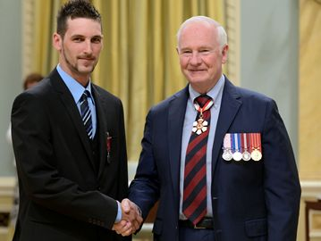 Brampton's Lee Page was one of 47 Canadians awarded the Medal of Bravery by Governor General David Johnston during a ceremony at Rideau Hall in Ottawa. Page rescued an elderly man from a burning vehicle in Hamilton three years ago.
