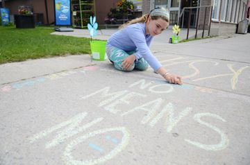 Sidewalk Chalk display in Omemee