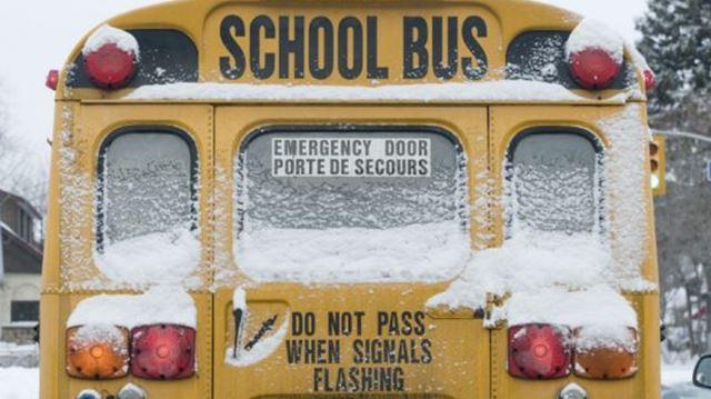 Snowy school bus