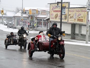FRIDAY THE 13TH Photo by J.P. Antonacci, Norfolk News Santa hitched in a ride in a sidecar during a snowy Friday the 13th in Port Dover.