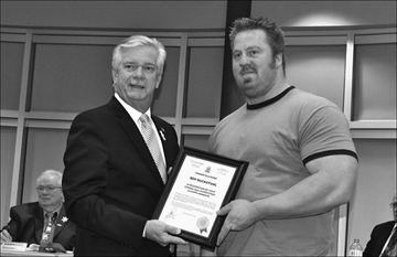 Mayor John Williams congratulated Ben Ruckstuhl on his success during the World Amateur Strongman Championships recently held in Columbus, Ohio.