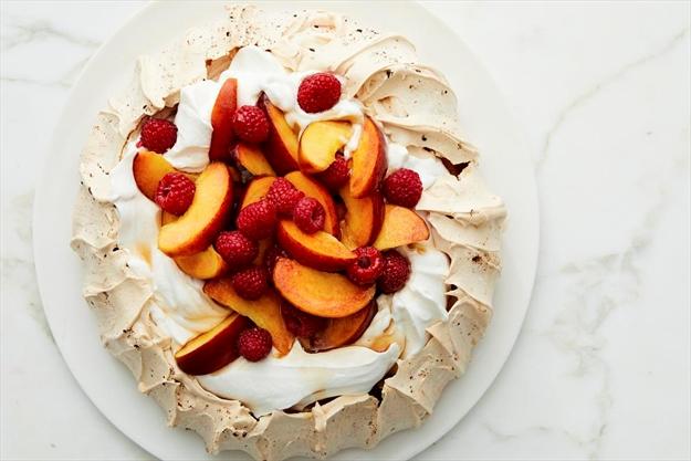 Definitely a double diva dessert: Raspberry Pavlova with Peaches and Cream