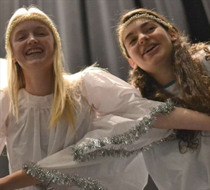 Fifteen-year-olds Audrey Matheson, left, and Cassie Lavigne, get into the angel routine before a Nov. 18 rehearsal for the OYP Theatre School's Christmas production. The production, entitled Plenty of Christmas for Everyone, runs from Nov. 29 to Dec. 1.