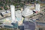 High-density transit hub rendering