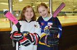 Hamilton Hawks novice house league players Lauren Weingartner and Alexandra Jackson