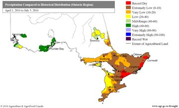 Drought map via Agriculture Canada