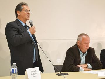 Mike Cadieux goes on attack against Gerry Marshall at Penetanguishene candidates meeting