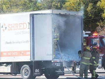 Paper shred truck fire