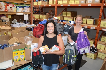 GBF Community Services program development manager Ashley Miller and food bank coordinator Alyssa Zandwyk have been busy preparing packages for the organization's Back-to-School Program.