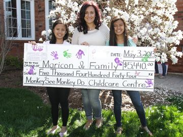 De-Anna Collarile, centre, from Monkey See Monkey Do Childcare and Development Centre presents a cheque to Saniel, left, and her sister Lean. The childcare centre held a danceathon fundraiser at its Oakville and Burlington locations raising $5,444. The Gerentes intend to move here from the Philippines as their dying mother had wanted.