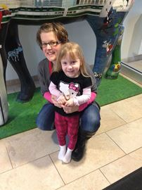 Emmelie Pealow and her JK teacher Erin White at the Ronald McDonald House in Toronto.