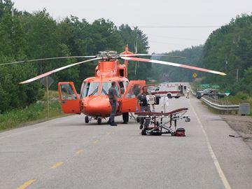 Ornge landing on highway