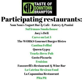 Participating restaurants in Taste of Downtown Brampton