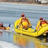 Pickering fire department demonstrate an ice rescue