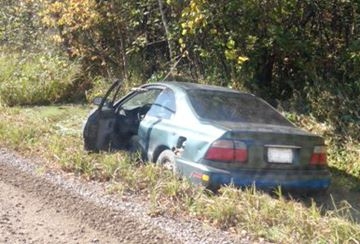 Car in the ditch - Sept. 25, 2014