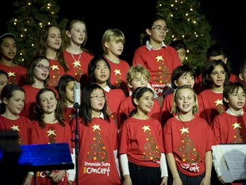 Frankland School Choir performs at the annual Riverdale Share concert Sunday at the Danforth Music Hall.