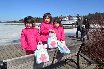 These little Easter Egg hunters Lila, Sadie and Violet Kane get ready to search for eggs at the Gravenhurst Wharf on Saturday, April 19.