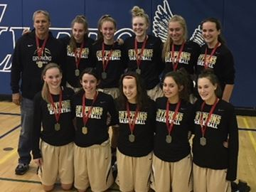 The Dundas Valley Secondary School senior girls basketball team with their SOSSA championship medals, last Thursday, begin a run this week at the provincial AA championships.