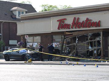 Car crashes into Tim Hortons