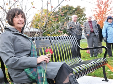 Bench dedication to Jamie Ross of Port Perry